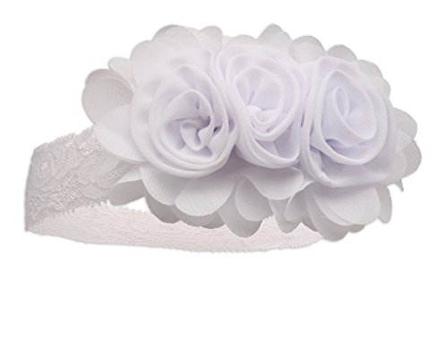 'Petals' White Chiffon Baby Headband for Christenings, Baptism and Baby Blessing