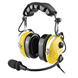 Aviation Headsets for Pilots with GA Dual Plugs, Noise Cancelling Mic, MP3 Music