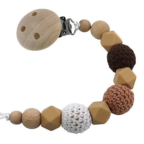 Touchlines Attache-tétine en bois et silicone de qualité supérieure avec perles crochetées