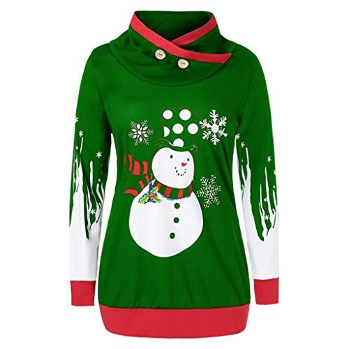 Komise Frauen Kapuzenpullover Weihnachten Snowman Snowflake Print Pullover Sweatshirt