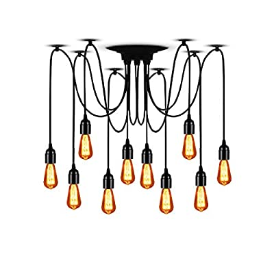 """T&A 10 Arms Spider Lamps Vintage Edison Style Adjustable DIY Ceiling Spider Pendant Lighting Rustic Chandelier(Each with 78.74""""/2M Wire)"""