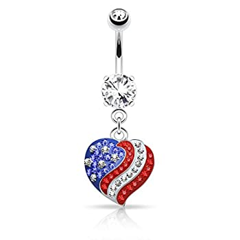 Pierced Owl Crystal Paved American Flag USA Heart Dangle Belly Button Navel Ring
