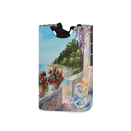 COFEIYISI Wäschesammler Wäschekorb Faltbarer Aufbewahrungskorb,Balkon mit Meerblick und gemütlichem Schaukelstuhl Blumen Sommerhimmel Ölgemälde,Wäschesack - Wäschekörbe - Laundry Baskets