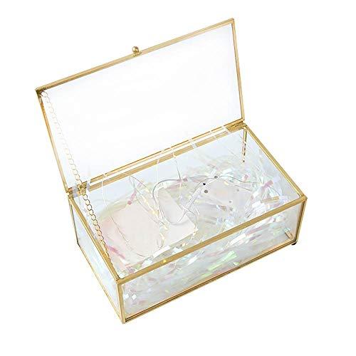 Wowlela Caja del Anillo, Joyero, Joyas Caja Transparente de Cristal Forma Box Anillo Caja de Regalo Planta Suculento Terrario Transparente Terrario Geométrico Multifunción,Joyero De Cristal Dorado