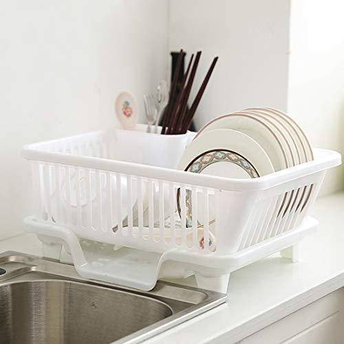 Gettesy - Escurreplatos de plástico para fregadero de cocina, bandeja organizadora