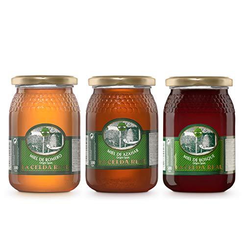 La Celda Real - 1,5 kg Miel Natural - Pack 3 sabores: Miel Romero + Miel Azahar + Miel de Bosque - 100{47bd02c192844fa119748e2a087181a4bc7501a18fec2600c708d54ea40bb086} Natural - Tarro de cristal - Origen España