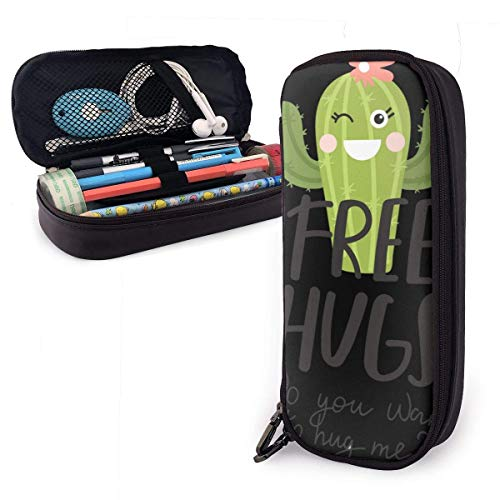 Pencil Case Pen Bag Do You Want to Hug Me with Cute Cactus Free Hugs Pencil Case, Large Capacity Pen Case Pencil Bag Stationery Pouch Pencil Holder Pouch with Big Compartments