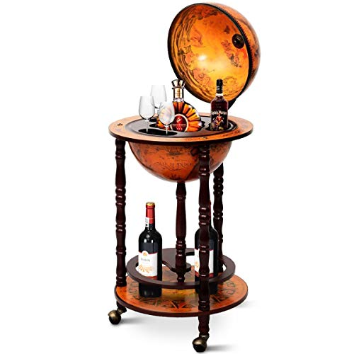 Goplus 17' Wood Globe Wine Bar Stand 16th Century Italian Rack Liquor Bottle Shelf with Wheels (Retro Brown)