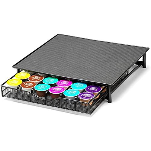 Abbcoert Soporte para cápsulas de café para almacenar 36 cápsulas de café, cajón para cápsulas de café con superficie antideslizante (negro)