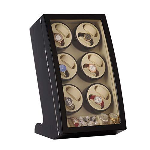 WCX Holz Automatischer Uhrenbeweger Uhrenbox, 6 Rotating 12 Wickelpositionen Und 4 Uhren Aufbewahrungskiste (Farbe : Schwarz)