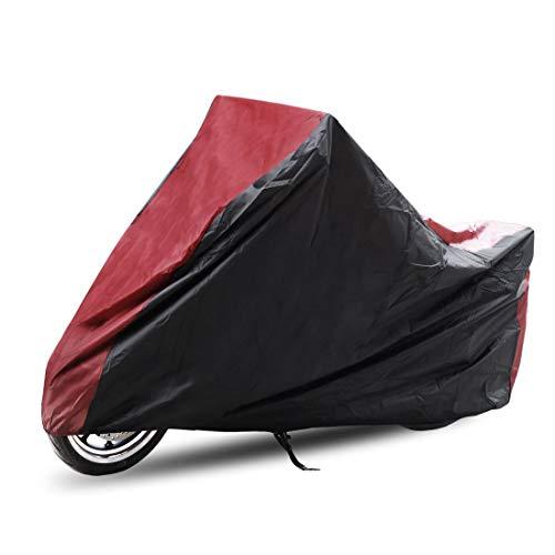 sourcing map Housse de Protection Exterieur Couverture Imperméable Anti-UV en Polyester 180T pour Moto,Scooter XXXL 295 x 110 x 140cm- Noir/Rouge