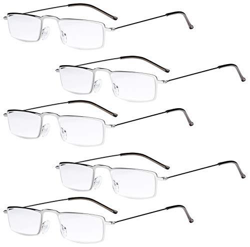 Eyekepper 5-Pack rostfrei Staal Rahmen Halb-Augen Art Lesebrille Leser Silber +2.5