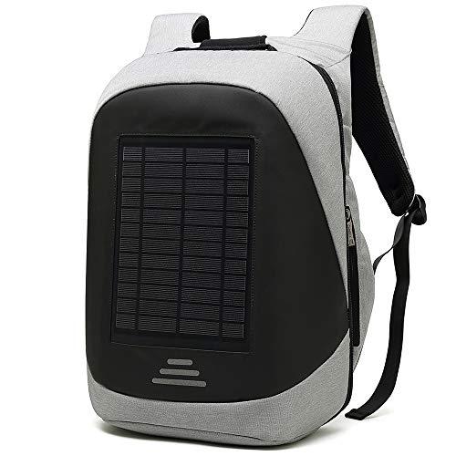 10.6W Mochila solar, bolsa para computadora portátil, USB 2.0 Carga de 20 litros Espacio de múltiples capas Equipo de viaje ideal a corta distancia impermeable para caminatas Varios dispositivos electrónicos,Black