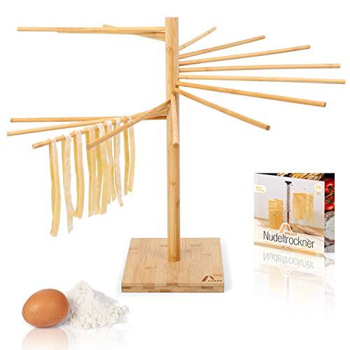 Amazy Secador de Pasta de Bambú + ePaper gratuito con recetas y consejos de uso | 100% natural - Soporte de pasta antideslizante y resistente para el secado casero de pasta