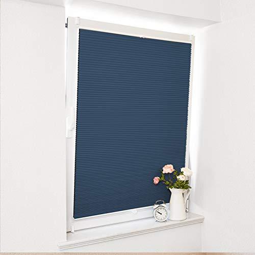 Atlaz Waben Plisseerollo Klemmfix, Thermo 100% Verdunklung, Doppelseitig Zweifarbig Weiß-Blau 80x130cm, Wabenplissee für Fenster & Tür, Sonnen-, Sicht- & Schallschutz Wärmeisolierung, Kein Geruch