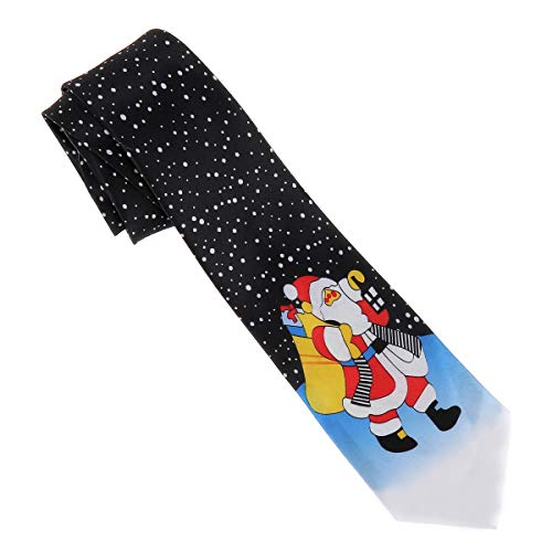 SHIPITNOW Corbata Pap Noel - Corbata de Disfraz - Corbata de Navidad Negra, Roja y Blanca