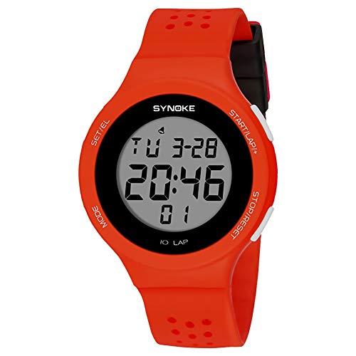 Populares Marca Luxur yFashion Deporte Hombres Mujeres Impermeable Alarma Fecha Cronómetro Regalo del Reloj de Pulsera Digital (Color : Rojo)