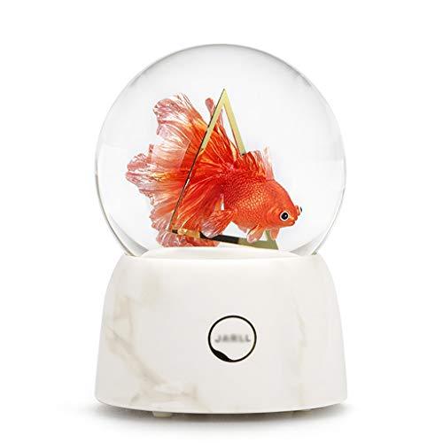 SKK Musicbox - Caja de música con diseño de peces en 3D, diseño de bola de cristal para decoración del hogar, amigos, niños, Navidad, San Valentín, cumpleaños, caja de amor (color natural)