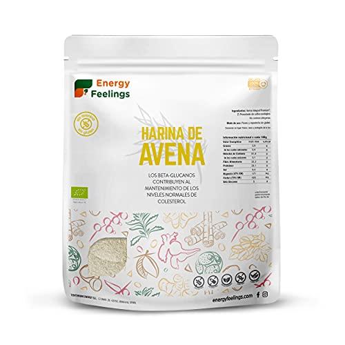 Energy Feelings Avena Ecológica Premium sin Gluten en Harina, XXL - 3 Paquetes de 1000 gr - Total: 3000 gr