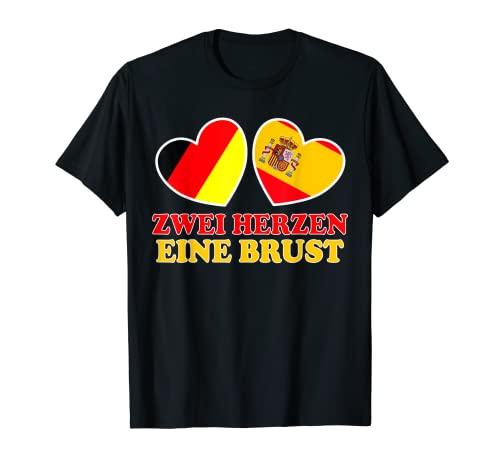 Deutsch Spanier zwei Herzen eine Brust Deutschland Spanien T-Shirt