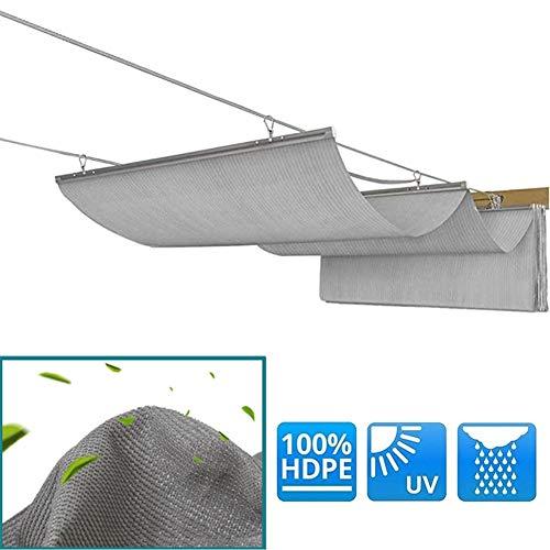 Sombrilla De Nuevo Diseño,Cubierta De Sombra Extensible, Ola Malla Transpirable 90% De Resistencia A Los Rayos UV con Cable Pérgola De Madera,Pabellón,Terraza,Sombra del Jardín