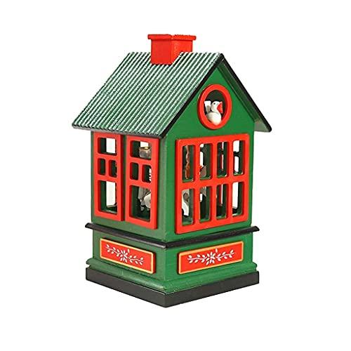 LHJCN Caja de música de carrusel de Madera navideña Decoraciones para el hogar Herramienta de diseño Creativo Giratorio Lindo para decoración de Fiesta de Oficina en casa