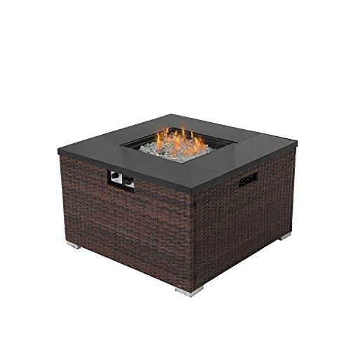 HOMPUS Propane Patio Fire Pit Table, Lava Rocks and Rain Cover for Outdoor Leisure Party,40,000 BTU 32-inch Square Dark Brown Wicker Fire Table