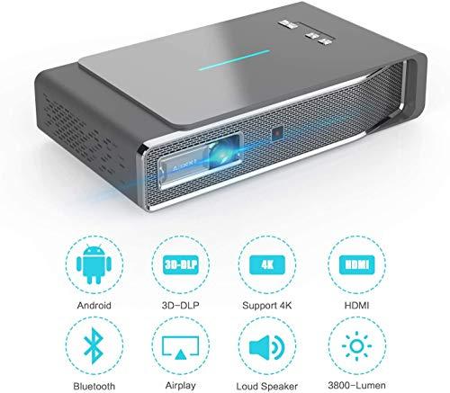 Miniprojector 3800 lumen 3D draagbare DLP-videoprojector ± 45 ° Keystone Ingebouwde stereoluidsprekerondersteuning 4K HDMI USB iPhone PC Bluetooth PS4 300