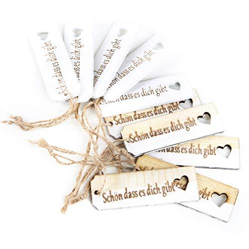 Logbuch-Verlag 10 SCHÖN DASS ES Dich GIBT Holz Anhänger Text Geschenkanhänger Hochzeit Liebe Verpackung Geschenk Anhängsel Hänger