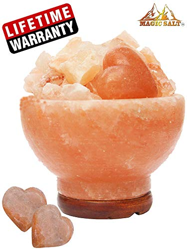 Magic Salt Lampada terapeutica a Forma di braciere con Sale dell'Himalaya, con 2 Pezzi a Forma di Cuore Realizzati a Mano, Include Cavo dimmer Speciale e Base in Legno di Alta Finitura, 2,5-3,5 kg