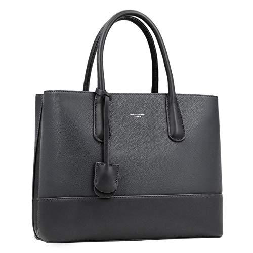 David Jones - Women's Large Handbag - Tote Bag Shopper Genuine Leather Style - Ladies Shoulder Crossbody Bag Multiple Compartments - Work Business School Top-Handle Satchel Briefcase - Dark Grey