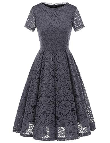 DRESSTELLS Damen Midi Elegant Hochzeit Spitzenkleid Kurzarm Rockabilly Kleid Cocktail Abendkleider Grey S