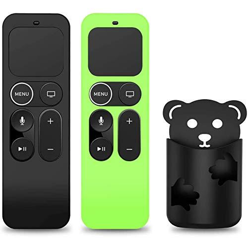 [2 PCS]NANTING Custodia protettiva compatibile per telecomando Apple TV 4K 5a/4a generazione,custodia per custodia remota per Siri,copertura per Telecomando antiurto antiscivolo (Nero + Glow verde)