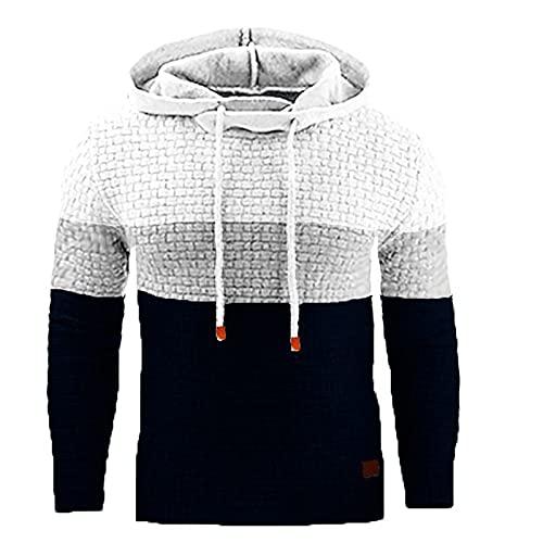 BGUK Sudadera con capucha para hombre, de manga larga, informal, a cuadros, con capucha, para otoño e invierno, Blanco, XXXXL