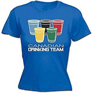 123t Women's Canadian Drinking Team Glasses Funny Party Sports Pub Beer Humour Fitted T-Shirt
