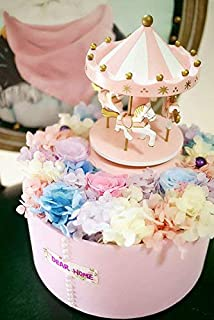 Carousel Happy Birthday Cake Bunting Topper Cake Topper Garland, Birthday Party Cake Decorations Plastic Merry-Go-Round Horse Christmas Birthday Gift Carousel Music Box, (Pink)