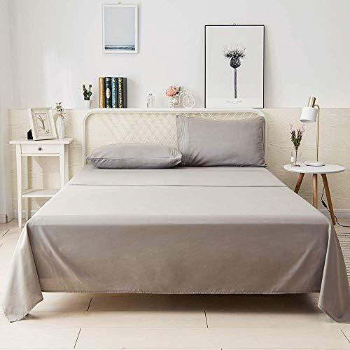 800 TC 100% algodón egipcio – Sábanas de cama premium de tejido de satén, 4 piezas Queen – Juego de sábanas de lujo para colchones de hasta 18 pulgadas de profundidad – gris plateado