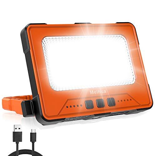Foco de trabajo LED portátil, foco de construcción LED, lámpara de camping recargable con 4 modos de luz, IP66 resistente al agua, 2 métodos de carga, para taller o construcción