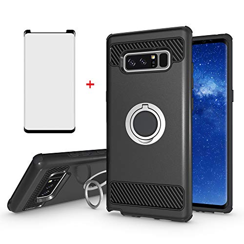 Phone Case for Samsung Galaxy Note 8 and Tempered Glass Screen Protector Cover with Magnetic Ring Holder Stand Kickstand Cell Accessories Slim Hard Heavy Duty Glaxay Note8 Not S8 Cases Women Men Black