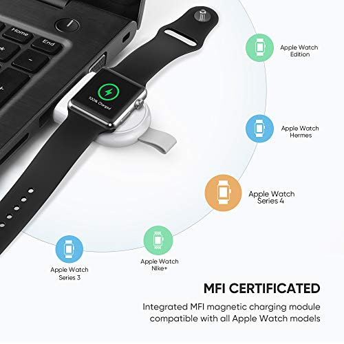 UGREEN Charger for Apple Watch MFi Certified Wireless Portable Magnetic iWatch USB Charger Travel Cordless Charger Compatible for Apple Watch Series 5 4 3 2 1