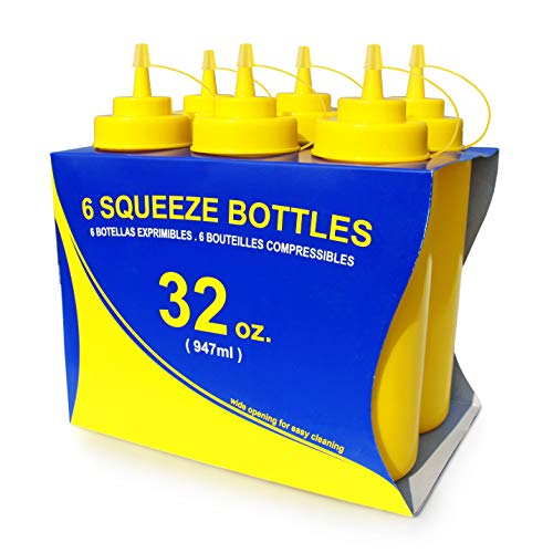 New Star Foodservice 26610 Plastic Squeeze Bottles with caps, Wide Mouth, 32 oz, Yellow, Pack of 6