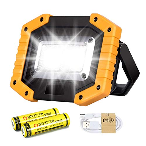 30W LED Work Light Rechargeable COB Floodlight Super Bright 2000LM Portable Outdoor Battery Security Light USB Waterproof for Garage Camping Hiking Fishing BBQ