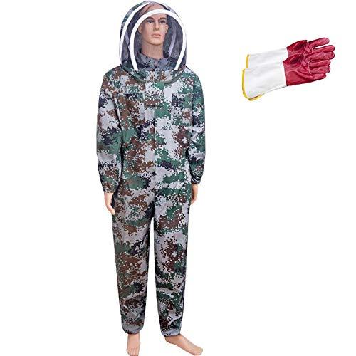 JXS-outdoor eendelige bijenset, beschermende bijenteelt Hd sluier blouse imker pak jas met beschermende handschoenen