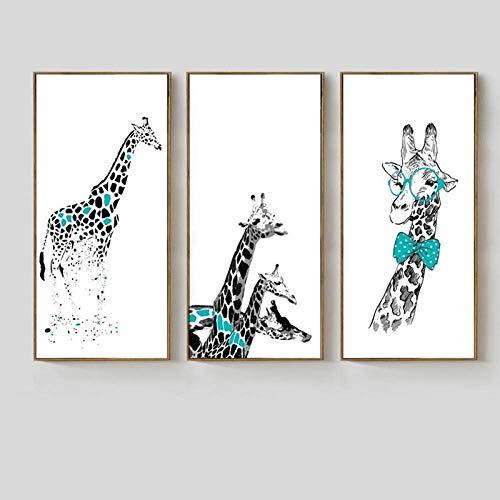 NOBRAND Caballeros creativos Jirafa Pintura Decorativa Pintura Colgante Vertical Habitación de los niños Arte de la Pared Lienzo Sin marco-40X50cmX3