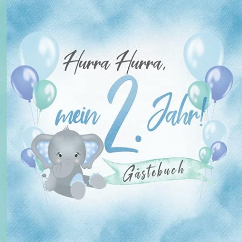 Hurra Hurra, mein 2. Jahr! Gästebuch: Erinnerungsbuch & Deko zum Geburtstag für Jungen in Blau &...
