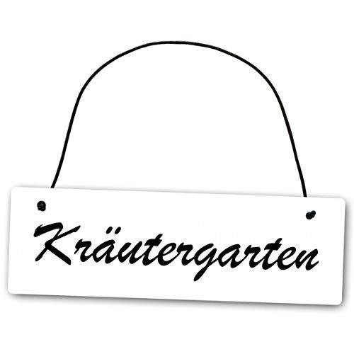 Homeyourself Metallschild Kräutergarten 25 x 8 cm aus Alu Verbund (Alu, Kunststoff) für In- und Outdoor Deko Schild Dekoschild Wandschild außen und Innen