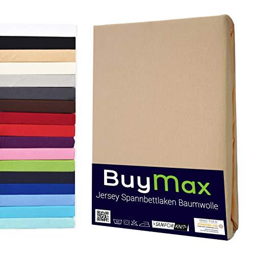 Buymax Spannbettlaken Kinderbett 60x120-70x140 cm Spannbetttuch Bettlaken für Beistellbetten Babybett 100% Baumwolle Jersey Matratzenhöhe bis 15 cm, Beige Sand