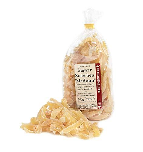 Ingwer Stäbchen medium mild 1 kg Sparpack - Ingwer leicht kandiert - Kandierter Ingwer Pommes - Trockenfrüühte ungeschwefelt - Bremer Gewürzhandel