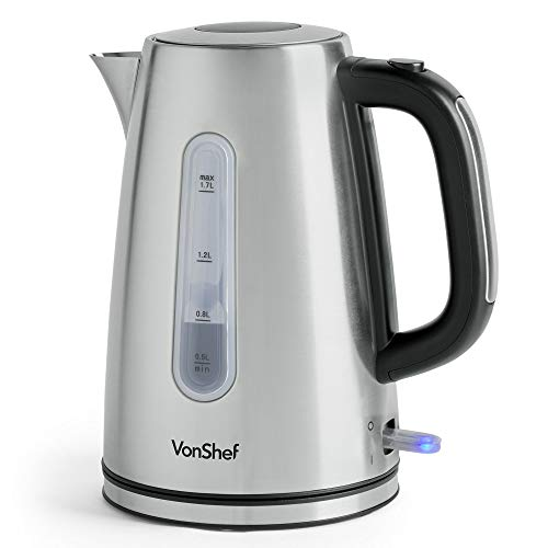 VonShef Electric Stainless Steel Kettle - Large 3000W, 1.7L Capacity Kettle with Fast Boil Time, Removable & Reusable Filter for Fresher Water & Heat Resistant Handle - for up to 7 Standard Cups
