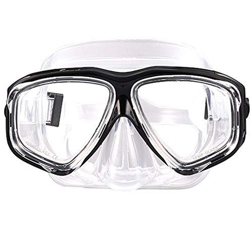 WOWDECOR Tauchmaske für Erwachsene und Kinder mit Kurzsichtigkeit Kurzsichtig, Schnorchelmaske Taucherbrille Dioptrin Dioptrien Korrektur, Schwarz (Different 2 Augen)